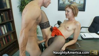 Dirty slut Dylan Ryan giving hot blowjob to_her boss and getting nailed hard image