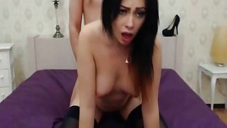 Image: Horny Brunette Babe Gets Mouth and Pussy Fuck