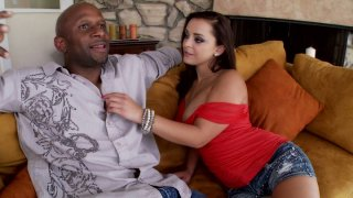 Lucky black dude gets a solid blowjob provided by wondrous Liza Del Sierra image