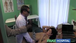 Fake Hospital Stiff neck followed by a big stiff cock image