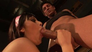 Brunette skanks Audrianna Angel and Danni Cole give double blowjob image