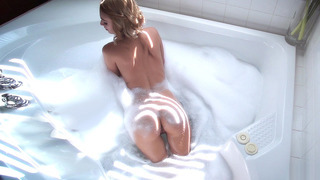 Erica Fontes soaping her sexy body in the bathroom image