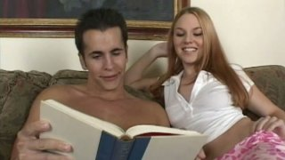 Red haired nympho Ginger Taylor seduces a man for sucking his cock image