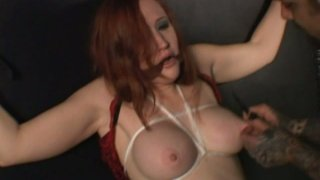 Cuddly tits of red-haired slut Julie Simone get poked with spike image