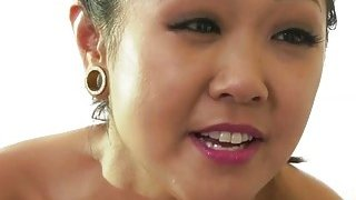Asian babe Saya Song and Avi Love playing with their hairy pussy image