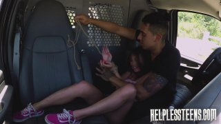 Aggressive guy fucks little teen bitch rough in the car image