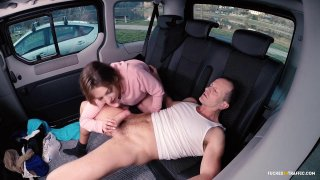 Cute teen suck and fucks and older guy in taxi image