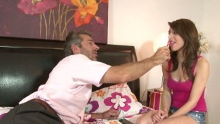 An old guy teaches Lexi_Bloom how to suck cock image
