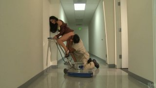 Elegant brunette babe India Summer fucks handsome janitor image