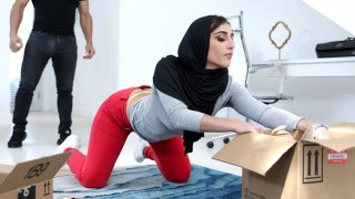 Hottie in Hijab manhandled by her sister's stud image