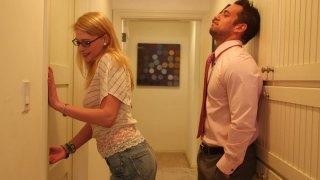 Image: Slutty blond nerd Allie James sucks a_cock in the hall