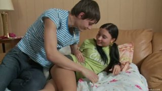 Horny dude Shane seduces teen chick Raine and gets a quality blowjob image