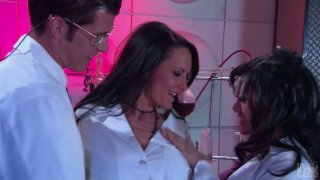 Two horny lab workers Kaylani Lei and Alektra Blue seduce their colleague image