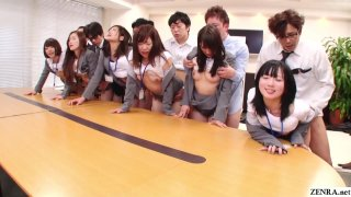 JAV huge group sex office party in HD Subtitled image
