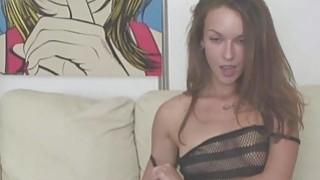 Brunette With Big Tattooed Ass Masturbates image