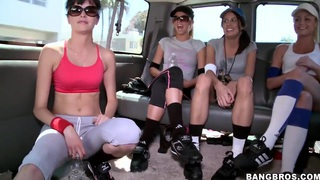 These super hot and horny babes enjoy to go for a ride after a training image