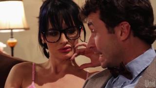 Hot brunette Christy Mack shows her big tits in pj's image