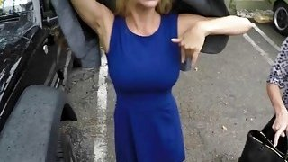 Big titted blonde MILF getting slammed hard in_POV by a truck driver image