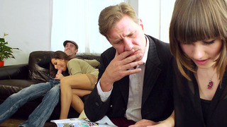 Sensual Jane sucking a dick while her husband sitting just_a few inches away image