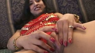 Zealous Indian slut Chandra has nothing against sucking two cocks at once image