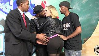 Blonde milf gets gangbanged by black dudes image