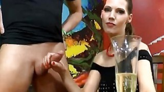 Dick hungry European babe sucks dicks until she gets her face covered with jizz image