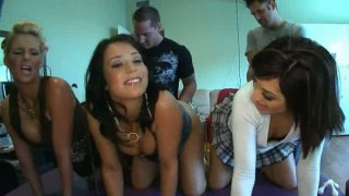 Phoenix Marie, Beverly Hills and Audrianna Angel gets their pussies fingered standing in a row image
