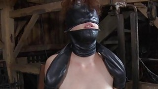 Image: Gagged girl with clamped nipps gets wild enjoyment