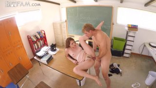 Naughty bimbo has a hardcore fuck session in the classroom image