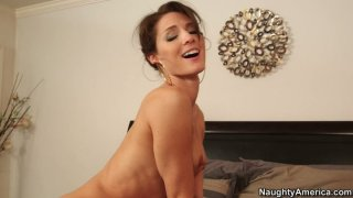 Tall and skinny Jenni Lee rides the cock fiercely and gives a tremendous blowjob image