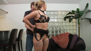 Kinky Mark Wood pokes the quim of slutty AJ Applegate from behind image
