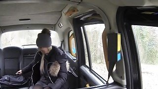 Freezed blonde warming on huge dick in fake taxi image