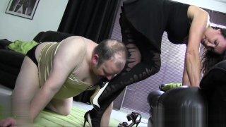 Satin panties nylon cock foot worship and wank with hot Milf image