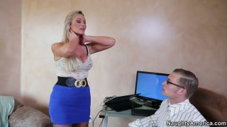 Sexy blonde whore Abbey Brooks debauch a nerd and gets her tits sucked image