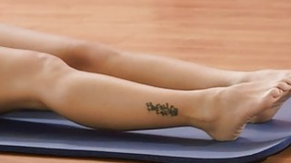 Sexy big boobs trainer and two hot students naked yoga image