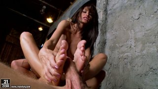 Long haired brunette_Randi Wright facesitting_and footjob image