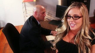 Horny bitch Samantha Saint dreams of having an oral sex with a dream boy image