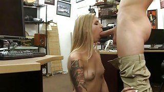 Sexy babe pawns her pussy and pounded by pervy pawn man image