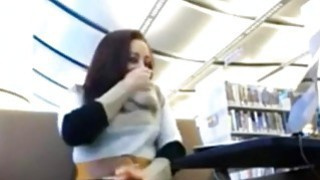 Hitachi action in library with horny teen on webcam image