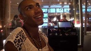 Bella Margo in black guy and an amateur hot girl enjoy striptease image