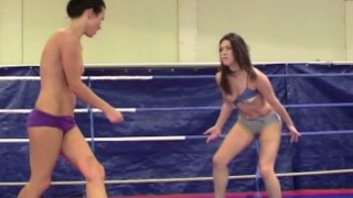 Image: Fascinating nude fight scene with horny blonde babe Nikky Thorne