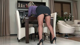 mature stocking tease - Mature blonde teasing with her_upskirt image
