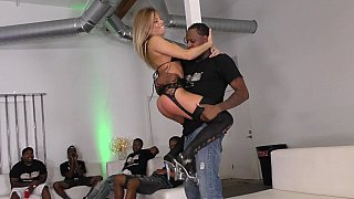 Big tits blonde gang-banged by black fellows image