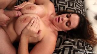 Alison Tyler gets jizz on her huge tits image