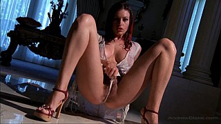 Long legged babe spreading her hairy pussy wide image