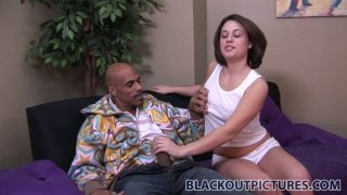 Scarlett Envy prefers strong and long black tool for stout blowjob image