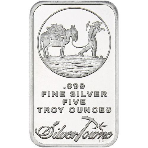 5 oz SilverTowne Prospector Silver Bars Just 89¢/oz Over