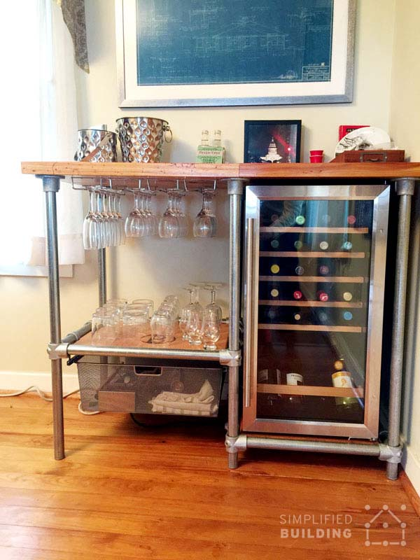 DIY Beverage Cart Built with Pipe Steps to Build Your Own