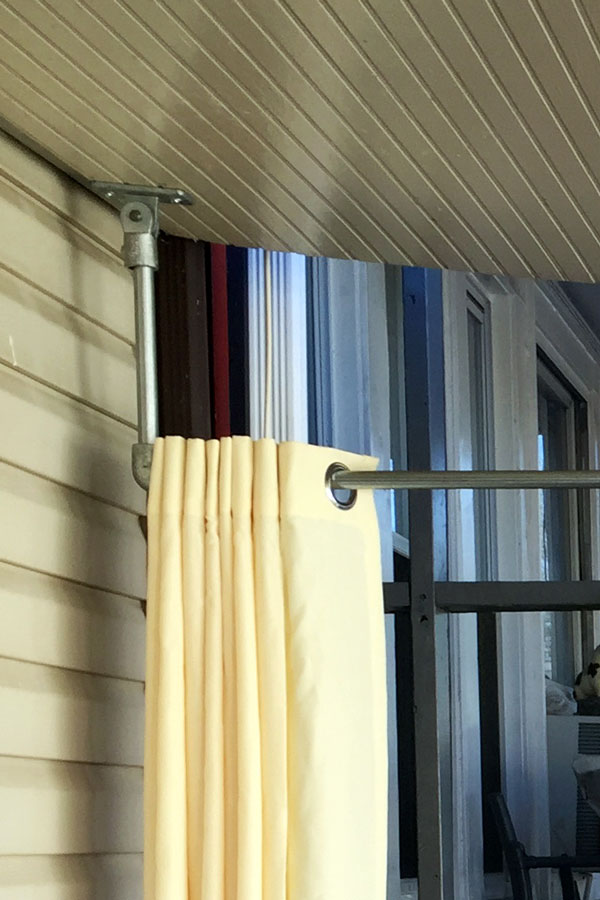 diy ceiling mounted curtain rods with
