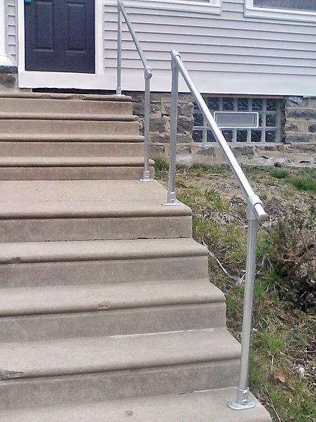 15 Customer Railing Examples For Concrete Steps Simplified Building   Exterior Handrails For Concrete Steps   Stair   Backyard   Cool   Side Entrance   Old House Porch